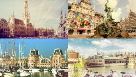 An image divided in four parts with cities Antwerp, Bruges, Brussels and Rotterdam.