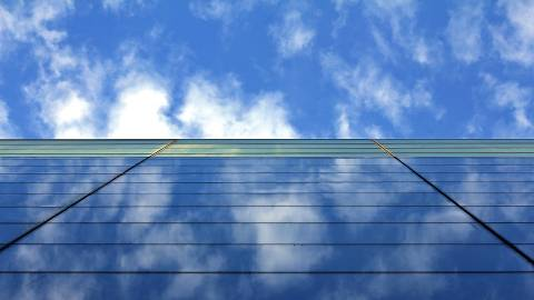 Upright view of a building with the sky